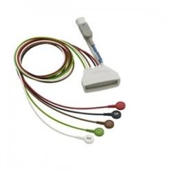 989803171841 Cable 5 puntas ECG, Telemetría AAMI 0.85MT snap / broche conector SPO2