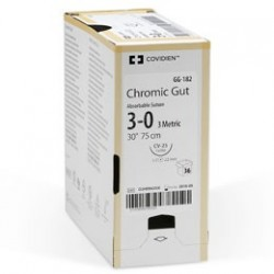 Catgut crómico con aguja ahusada 1/2 CÍRCULO Y 25MM. DE LONG. MC 25(HR 25) CAL. 4-0, 75CM. Caja con 24 piezas
