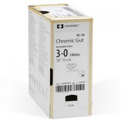 Catgut crómico con aguja ahusada 1/2 Circulo y 35MM. DE LONG., MC 35(HR 35) CAL. 3-0, 75CM. Caja con 24 piezas