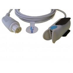 CR001-3102A Sensor SPO2 reusable adulto clip dedo, 3.0M 10Pins, Datex