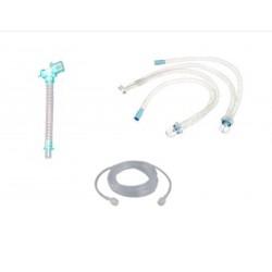 """Circuito de ventilación, desechable con trampas e agua con línea, conector en """"Y"""", con puertos y tubo salomónico"""
