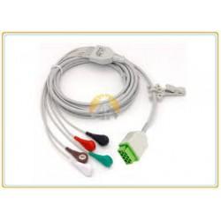 Cable ECG, 5 der., conector pin senc. MonoLead® 5,IEC1 (cód.de col. eur.), 2,5m