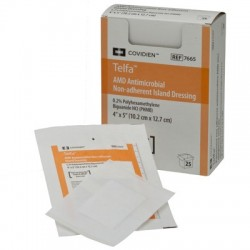 7666 Apósito telfa AMD antimicrobiano con polihexametileno de biguanda con borde adhesivo 10.2 CM X 20.3 CM
